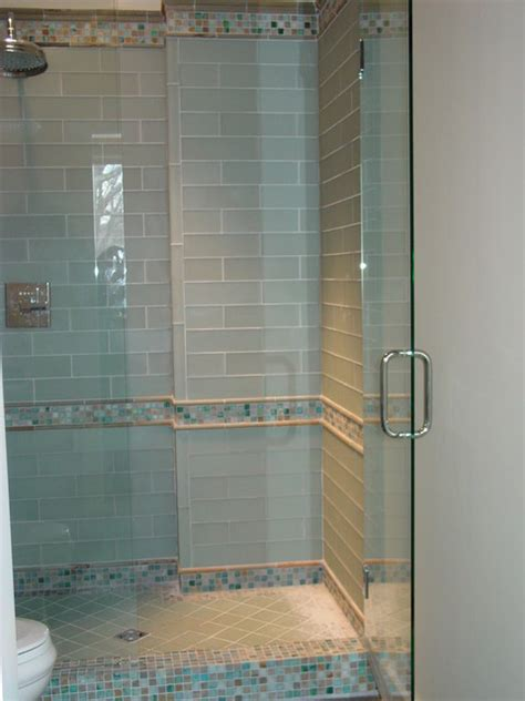 bathroom glass tiles blue glass tile shower