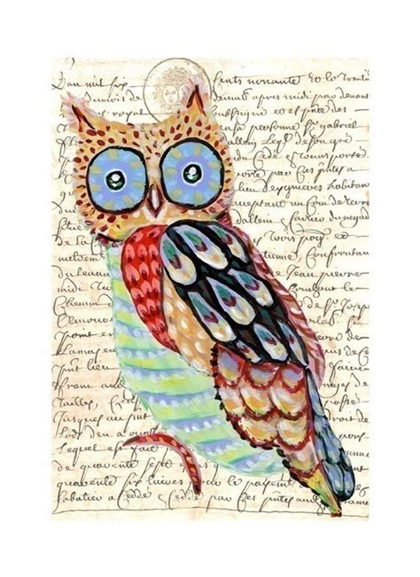 sketchbook whimsy collage size books whimsical owl painting collage print