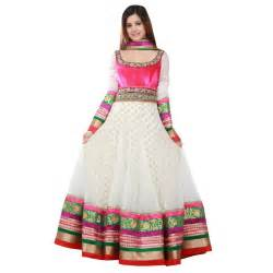 White anarkali with border embroidery dress trendy mods com