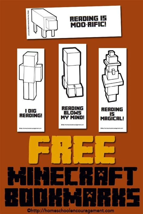 bookmark book report free minecraft printables for reading bookmarks reading