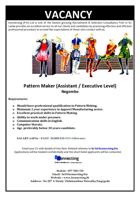 pattern maker skills pattern maker assistant executive level apperal job