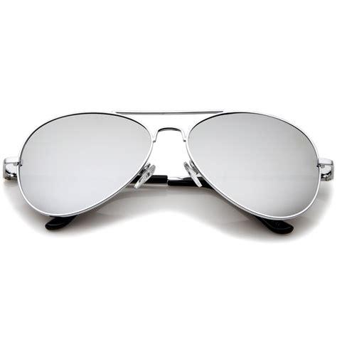Mirror Metal Frame Sunglasses classic mirrored metal aviator sunglasses zerouv