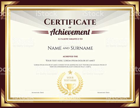 certificate for achievement template certificate of achievement template with vintage
