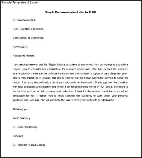 Reference Letter Template Free Free Sle Recommendation Letter For P Hd Sle Templates