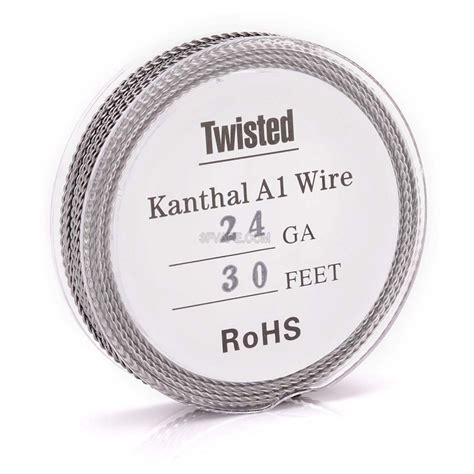 Premium Twisted Kanthal A1 Wire 24 X 2 Ga Awg Rohs Certified authentic kanthal a1 24 awg x 2 0 5mm twisted heating wire for rba
