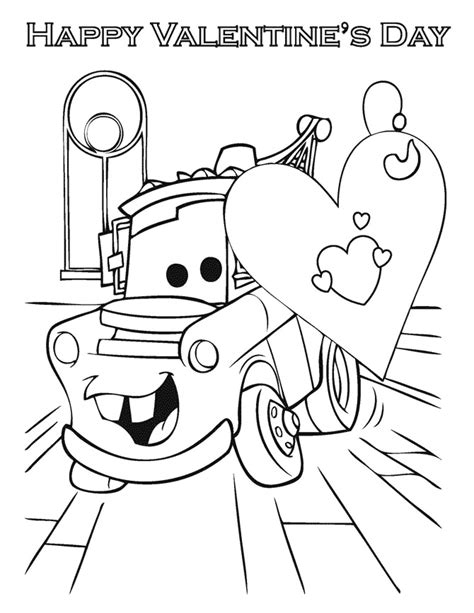 Cars Valentine Coloring Pages | cars happy valentines day coloring page h m coloring pages