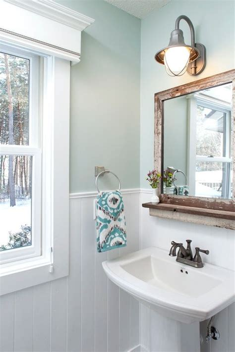 country powder room  paintable white beadboard