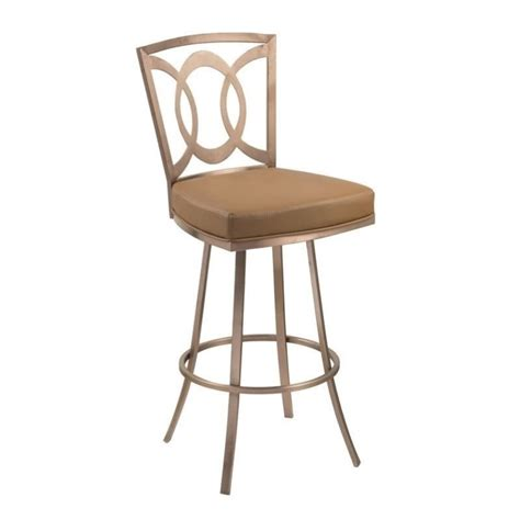 Gold Swivel Bar Stool by Armen Living Faux Leather Swivel Bar Stool In Gold
