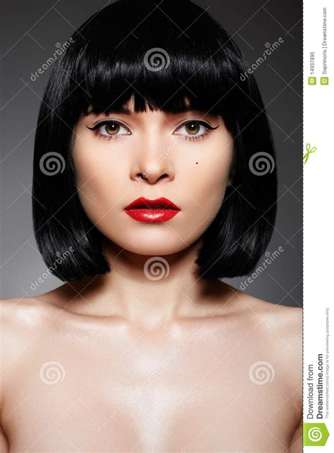 Luxury Woman With Fashion Make up & Bob Hairstyle Stock