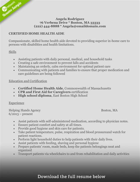 Aide Resume How To Write A Home Health Aide Resume Exles Included