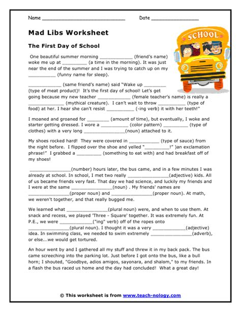 Break Letter Mad Libs mad libs worksheet the first day of school