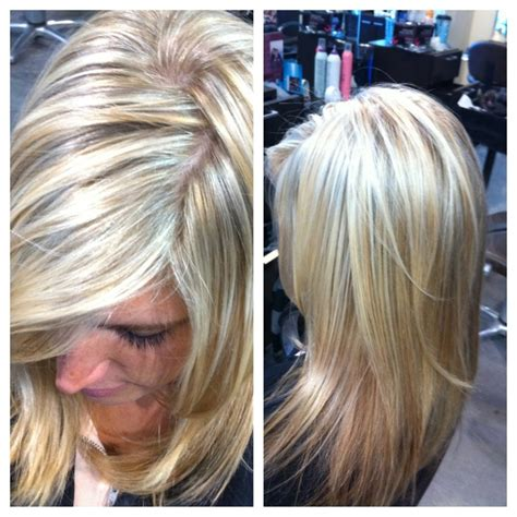 lowlight placement in bleached blond hair platinum blonde with red blonde hair with low lights