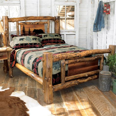 Log Wood Bed Frame Aspen Log Bed Frame Country Western Rustic Wood Bedroom Furniture Decor Ebay