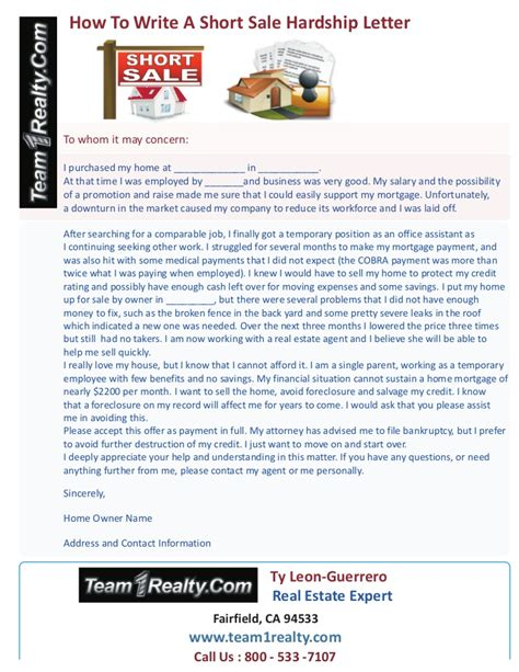 Sle Hardship Letter For Keep Your Home California How To Write A Sale Hardship Letter Ty Guerrero Of Team1
