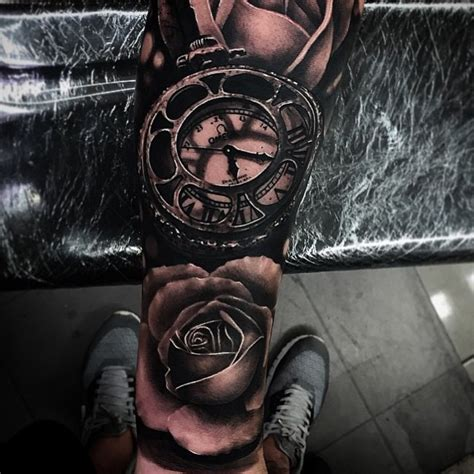 clock and rose tattoos omega blackwork clock and roses realistic 3d by da