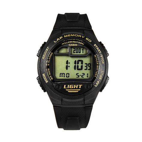 Jam Tangan Pria Casio W 734 9a Original Eksklusif jual casio w 734 9a jam tangan pria black gold dual time harga kualitas terjamin