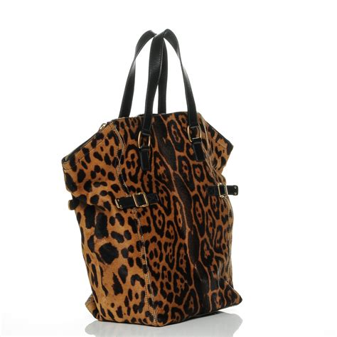 Yves Laurent Downtown Leopard Print Media Tote by Yves Laurent Pony Hair Leopard Print Large Downtown