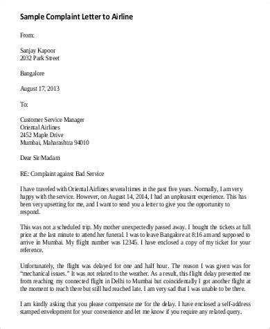 Complaint Letter Delayed Flight Complaint Letter About Bad Service Docoments Ojazlink