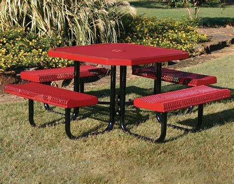 metal picnic bench 46 quot octagon rolled edge metal picnic table