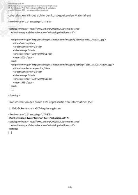 Muster Xml It Zertifikat Advanced Markup Metadata Handout Xslt