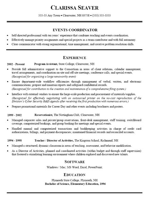 event planning resume sles resume sle for events coordinator