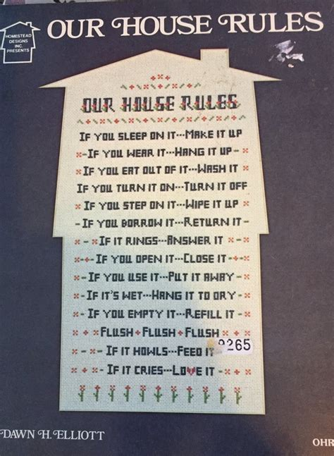 house rules design ideas our house rules cross stitch chart by homestead designs