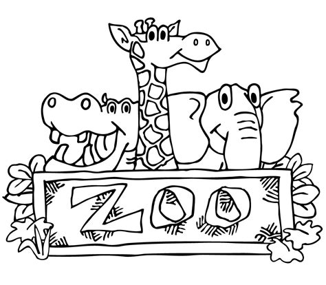 White Zoo black and white zoo clipart collection