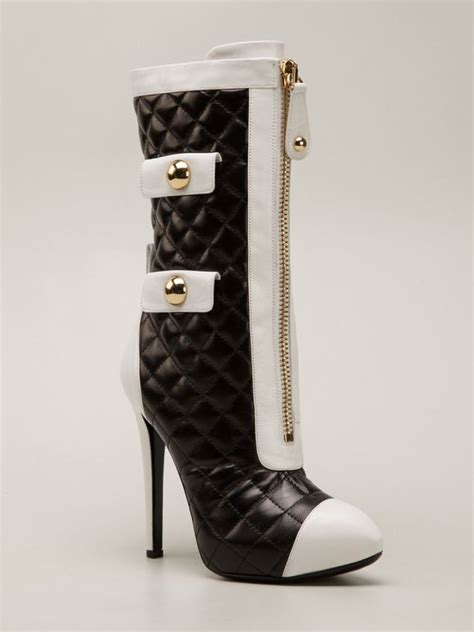 moschino black and white leather quilted boots shoes post