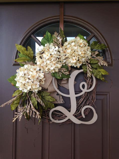 grapevine floral design home decor the best selling year round cream hydrangea wreath for front door