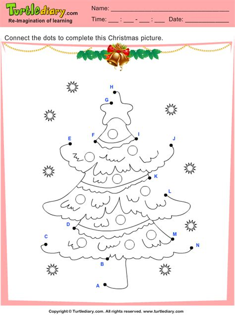 connect  dots christmas tree worksheet turtle diary