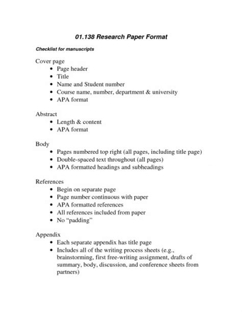 Structure Of A Research Paper Or Essay by Structure Of College Research Paper Format Apa Research Paper Format Sles