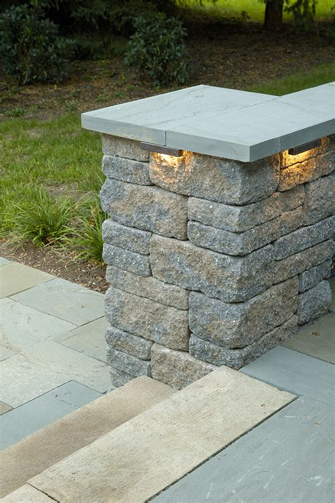 lightweight patio stones column lighting