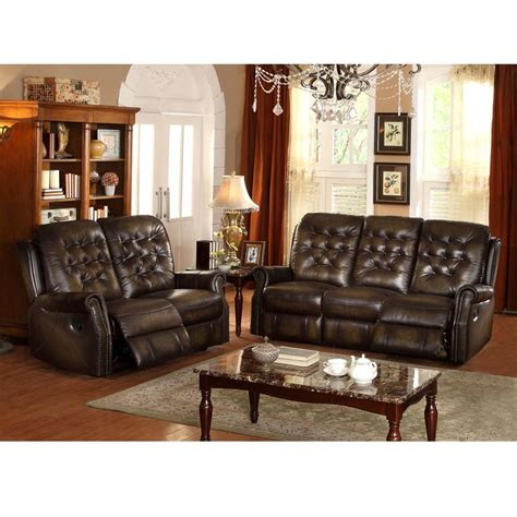 tufted leather reclining sofa bedford wingback tufted brown top grain leather reclining