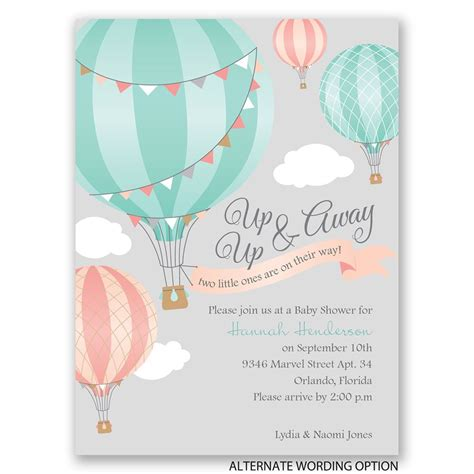 Baby Shower Invites For by Up Up Away Baby Shower Invitation Invitations