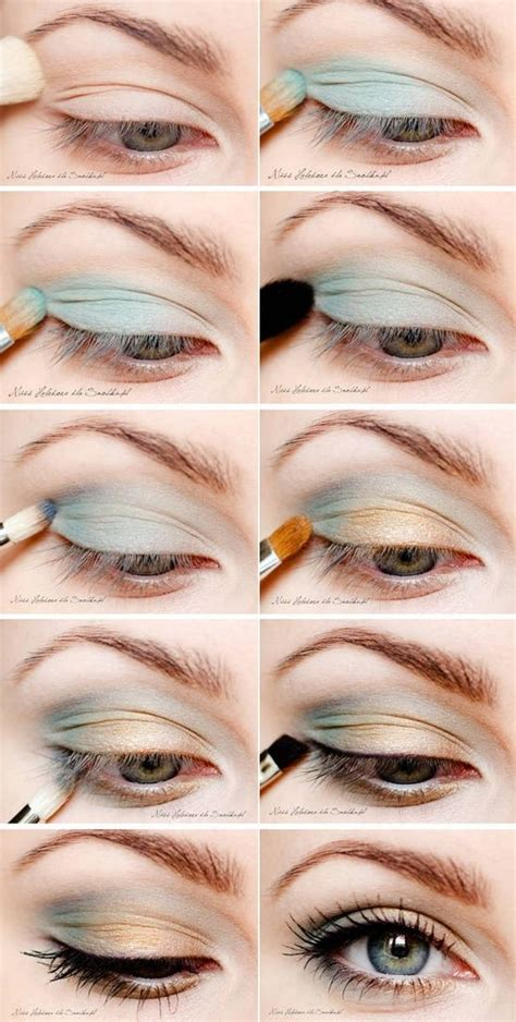 makeup tutorial lighting light teal and gold eye shadow makeup ideas pinterest