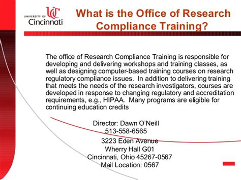 Office Of Compliance by Office Of Research Compliance And Regulatory Affairs Orcra