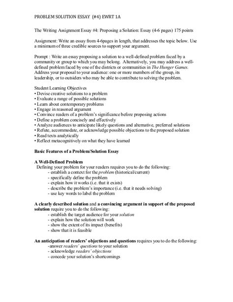 Exle Of A Problem Solution Essay by Proposing A Solution Essay 4