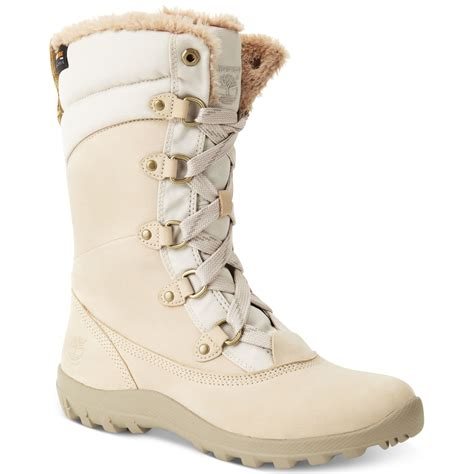 timberland mount snow boots in beige winter white
