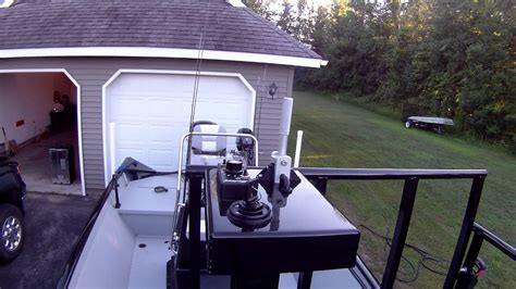 bowfishing boat steering bowfishing pedestal with controllking and powrtran on the