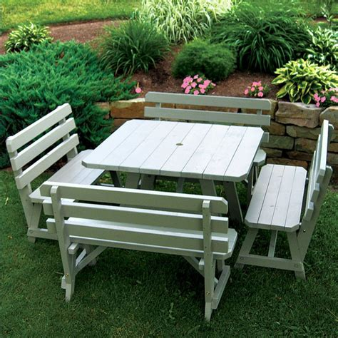 bench products online buy the a l yellow pine square picnic table w backed