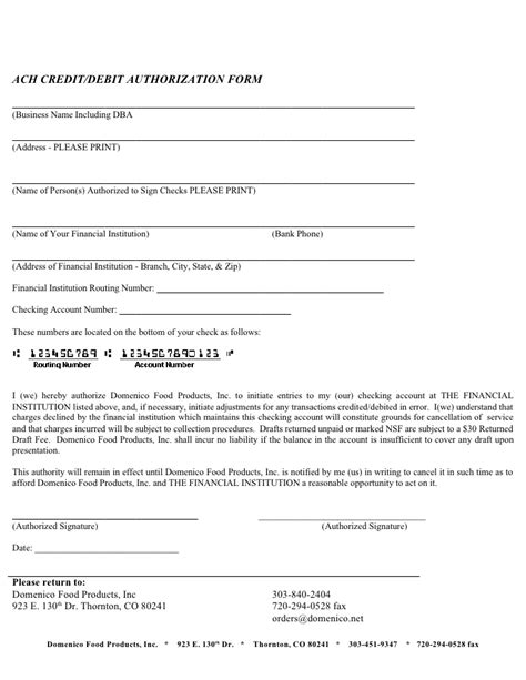Ach Credit Authorization Form Sle Credit Application 5 Page Co Tx May 2