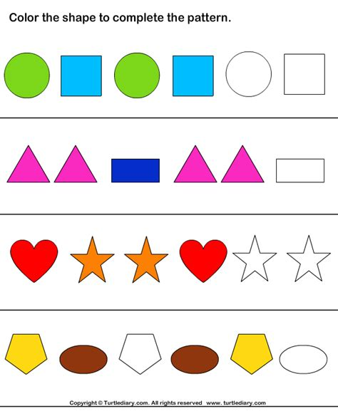 pattern and shape worksheets color the shapes to continue patterns worksheet turtle diary