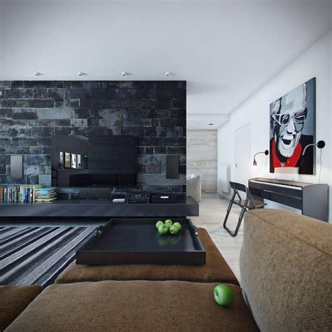 wanddesign wohnzimmer wohneinrichtung ideen mit wandverkleidung aus beton und