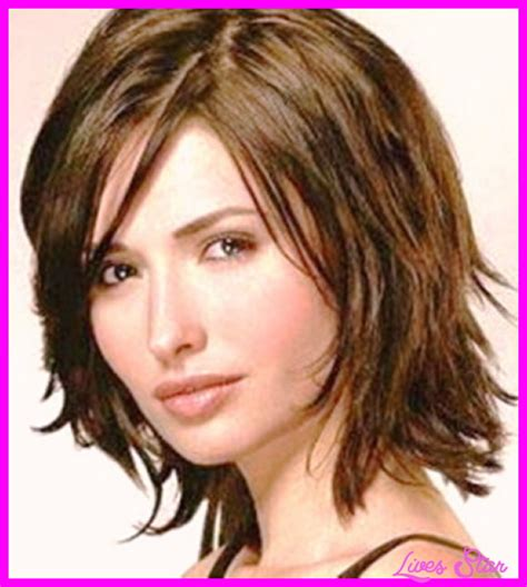 good haircuts for thick hair round face medium layered haircuts for thick hair and round faces