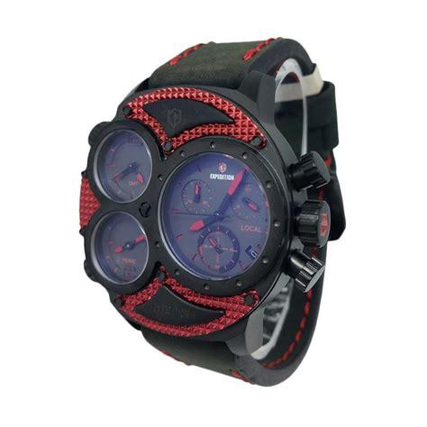 Expedition E6693mf Silver Black Tali Kulit setting tanggal jam tangan analog jam simbok