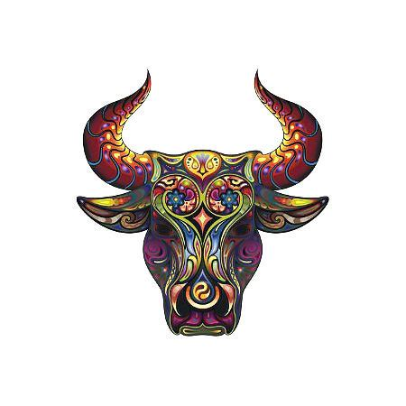 decorative bull head tattoo design