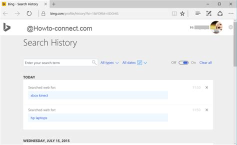 browser history delete bing how to clear bing search history on edge browser