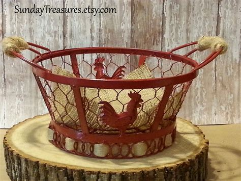 rooster wire basket bowl country decor