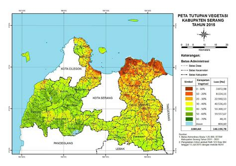 Peta Kota Serang Lipat blhd peta tutupan vegetasi kabupaten serang tahun 2016