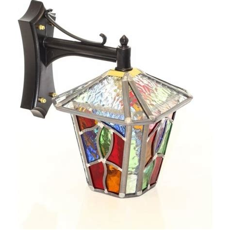 Decorative Multi Coloured Stain Glass Outdoor Wall Lantern Outdoor Lights Sale Uk
